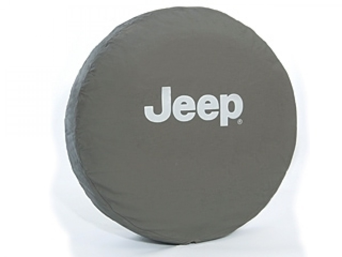 Genuine Jeep Accessories 82209957AB Khaki Cloth Spare Tire Cover with Silver Jeep Logo